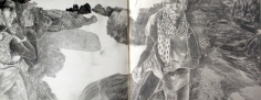 K. Laxma Goud UNTITLED (MAN AND WOMAN BY ROCKS) 1992 Pencil on paper 7.5 x 18.5 in.