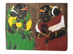 Thota Vaikuntham, Untitled (Women in Red and Green Saree), c.1995, Acrylic on antique wood, 8.75 x 6.88 in
