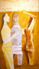 M. F. Husain WOMEN IN YELLOW 1970 Oil on canvas 53 x 29 in.