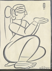 Jamini Roy  Untitled (Seated Woman) Gouache on card 17 x 13.5 in.