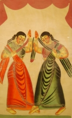 Kalighat Painting DANCING GIRLS ND Silver, opaque and transparent pigments on paper 17.5 x 10.5 in.