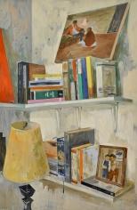 Salman Toor, Floating Shelf I, 2018, Oil on panel, 36 x 24 in