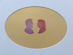 Abdullah M. I. Syed  Rose Petal Portraits: Silhouettes 31-32 – Lincoln and Trump, 2019  Hand-cut rose petals on archival metallic paper and clear acetate  12 x 16 in