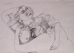 Nalini Malani UNTITLED (2 FIGURES EMBRACE) 1978 Ink on paper 15 x 11 in.