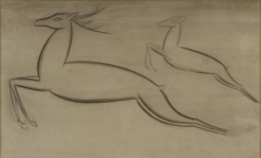 Jamini Roy  Untitled (Two Deer), n/d  tempera on card  9.50h x 15.63w in