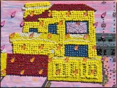 Saba Khan  Dream House on a Rainy Day, 2015  Crystals, beads and acrylic on canvas  7 x 9.50 in