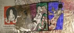 M. F. Husain SHIV LINGAM 1974 Acrylic on foil 19 x 53 in.