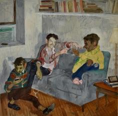 Salman Toor, Three Friends, 2018, Oil on panel, 18 x 18 in