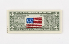Abdullah M. I. Syed  Money Flag: USA (1 US$ Verso), 2020  Machine embroidery on uncirculated 1 US Dollar bill  6.10h x 2.60w in