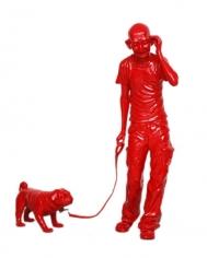Debanjan Roy INDIA SHINING 6 (GANDHI WALKING THE DOG) 2009 Fiberglass with acrylic paint Ed. 2/5 Gandhi - 14 x 15 x 46 in. Dog - 7 x 18 x 11 in.