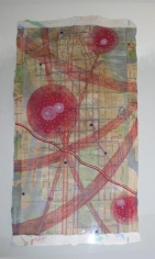 Talha Rathore UNTITLED RED 2009 Gouache on wasli 18 x 9.5  NFS