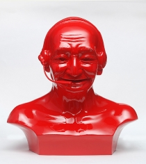 Debanjan Roy, India Shining 11 (Gandhi bust with headphones), 2009, Fiberglass and automotive paint, 13h x 13w x 8d in