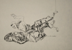 Laxma Goud UNTITLED (PRONE THREE FIGURES) Ink on paper 10 x 14 in.