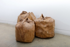 Debanjan Roy, Untitled (Garbage Bags), 2013, carved wood