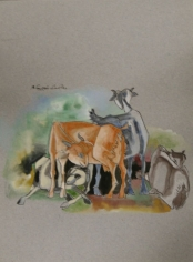 K Laxma Goud FOUR GOATS Watercolor and ink on paper 13.5 x 9.5