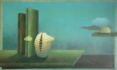 Viren Tanwar MAN WAS BORN 1980 Oil on canvas 34 x 56 in.