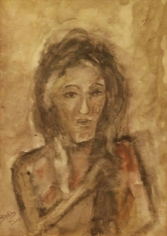 Rabindranath Tagore UNTITLED (FACE) ND Coloured ink and wash on paper 7.7 x 5.5 in.  NFS