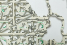 Abdullah M. I. Syed  Mapping Investment: Afghanistan (Detail 1)  2017  Hand-cut U.S. $2 banknote sheet and banknote collage with acrylic on wasli  20.25 x 50.25 in