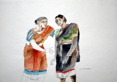 K. Laxma Goud TWO WOMEN, HAND ON SHOULDER Watercolor on paper 10.5 X 14.5 in.