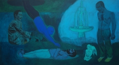 Anwar Saeed  Soul of the Man Diving Back Into His Body, 2007  Acrylics and charcoal on canvas  60 x 108 in