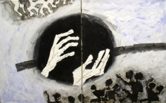 M.F. Husain UNTITLED DIPTYCH (MOTHER TERESA/CHILD/HANDS) 1980 Oil on canvas 30 x 48 in.  SOLD