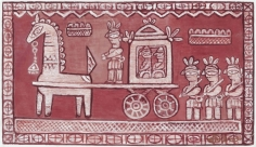 Jamini Roy  Untitled (Bridegroom's Procession), n/d  Tempera on canvas  19 x 32 in