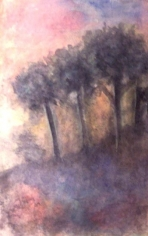 Rabindranath Tagore FOUR TREES 1937 Coloured ink and wash on paper 10 x 6.5 in.  NFS