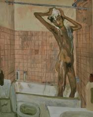 Salman Toor, Shower Boy, 2018, Oil on panel, 20 x 16 in