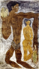 Sadequain ADAM AND EVE 1979 Oil on canvas 51.5 x 29 in.