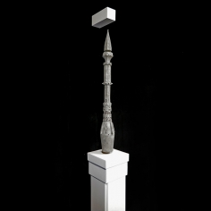 Saks Afridi, Levitating Minaret, 2019, High density foam, electromagnets, wood, and paint, 24 x 4 in