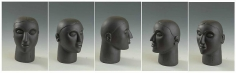 Mayyur Gupta FOR HER 2006 Graphite on wood 14.5 x 8 x 10 in. (Multiple views of the same sculpture )