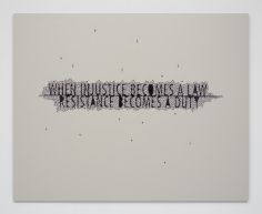 Anita Dube  When Injustice Becomes A Law, 2021  Votive Eyes on MDF board  48 x 60 in  1 of 3