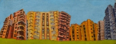 Veera Rustomji, Real Estate Dreams, 2018, Oil on jute, 12 x 30 in