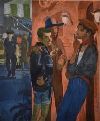 Salman Toor, The Smokers, 2018, Oil on panel, 24 x 20 in