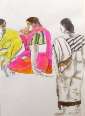 Laxma Goud THREE WOMEN Watercolor and Ink on Paper 10 x 13.5