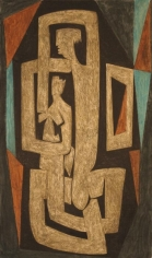 Sadequain MAN AND WOMAN 1985 Oil on canvas 52 x 31.5 in.