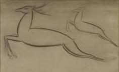 Jamini Roy  Untitled (Leaping Deer), n/d  tempera on card  9.50h x 15.63w in
