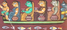 Jamini Roy KRISHNA AND BALARAM FERRYING THE GOPININS ACROSS THE JAMUNA 1942 Tempera on card 9 x 18.5 in.