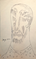 F.N. Souza  Untitled (Bearded Man with Shirt)  1964  Ink on paper  13 x 8 in.