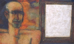 K. Laxma Goud UNTITLED (MAN WITH FRAME) 1980 Mixed media on paper 17 x 24 in.