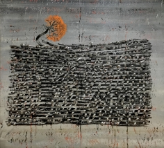 G. R. Iranna  Light in Hidden Ash, 2016  Acrylic on tarpaulin  60 x 66 in