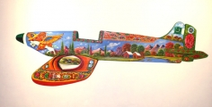Sana Arjumand LET'S FLY FIRST CLASS 2010 Oil and acrylic on canvas 59.5 x 116.5 in.