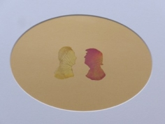Abdullah M. I. Syed  Rose Petal Portraits: Silhouettes 29-30 – Putin and Trump, 2019  Hand-cut rose petals on archival metallic paper and clear acetate  12 x 16 in
