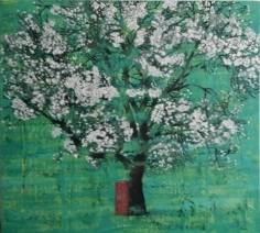 G.R. Iranna The Wise Tree 2016 Oil on tarpaulin 66 x 54 in.