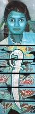Reena Saini Kallat SWORD SWALLOWER - GIRL 2006 Acrylic on canvas 77 x 22 in.