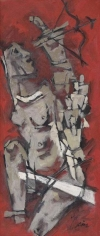 M.F. Husain DRAUPADI (MAHABHARATA) 1971 oil on canvas 55 x 23 in.