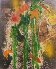 Nitin Mukul  Realm of Senses  2011  Oil, acrylic and tea stain on canvas  16 x 19.88 x 1.50 in