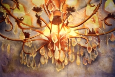 Nitin Mukul  Chandelier 3  2014  Oil, acrylic and tea stain on canvas  40 x 60 in