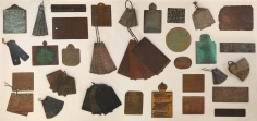 Pushpamala N  Atlas of Rare and Lost Alphabets, 2020  A set of 50 copper plates based on ancient grants, lost scripts handwritten and etched by the artist with patination