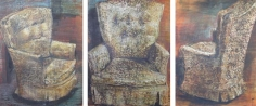 Indrapramit Roy THE CHAIR (TRIPTYCH) 2005 Mixed media on paper 29 x 63 in.